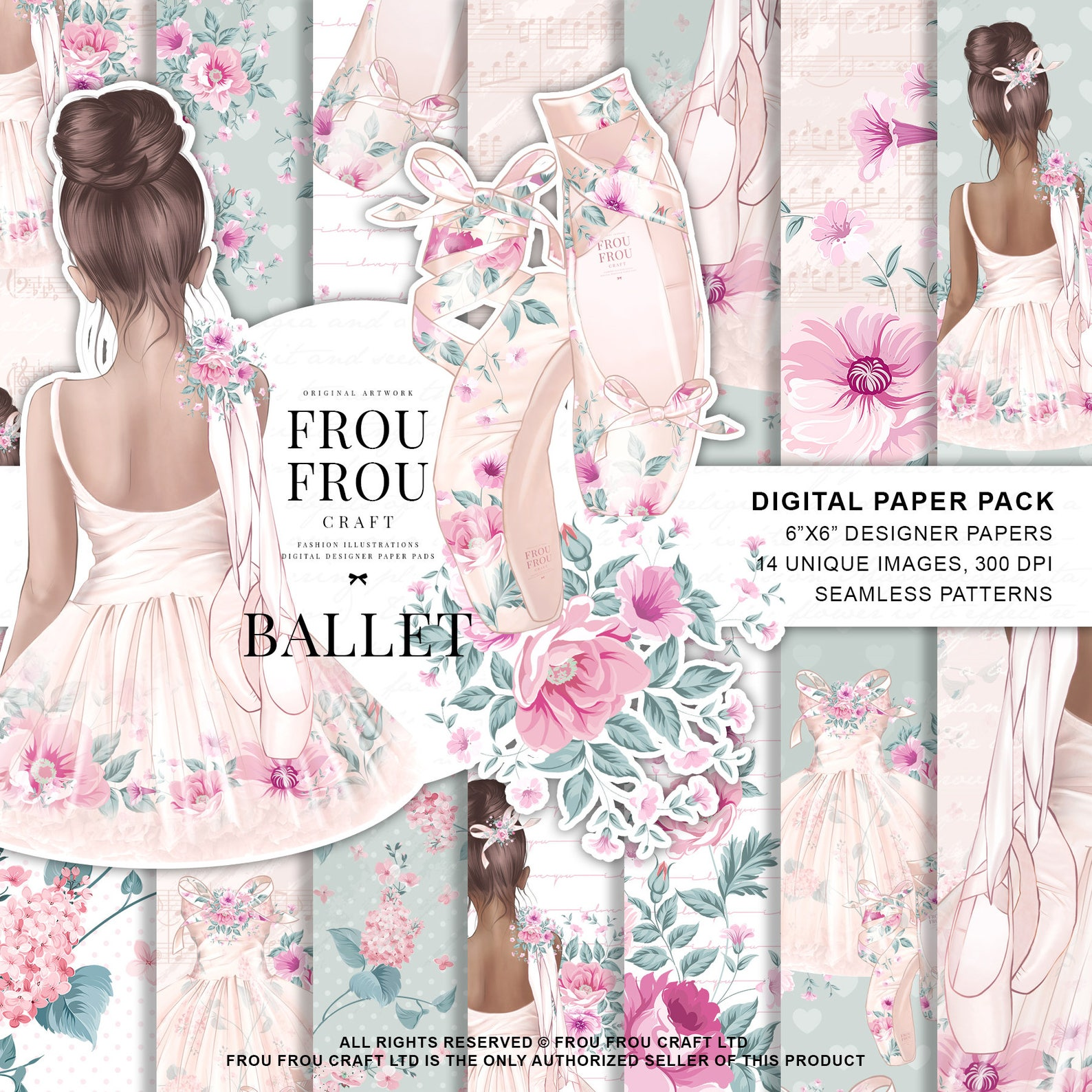 ballet paper pack little ballerina digital designer pad dancer backdrop nursery wallpaper birthday girl peach pastel tutu dress