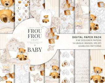Baby Paper Pack Neutral Baby Nursery Beige Digital Background Baby Scrapbook Baby Shower Teddy Bear Toys Seamless Patterns Handpainted