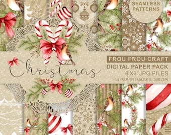 Christmas Paper Pack Xmas Scrapbook Paper Watercolor Digital Background Seamless Patterns Candy Cane Printable Planner Supplies Cute Red Bow