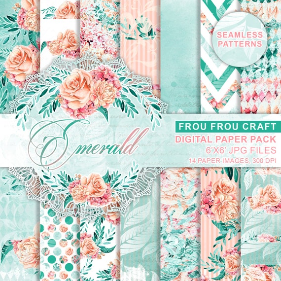Watercolor Flowers Digital Paper Pack Peach And Mint Flowers Etsy