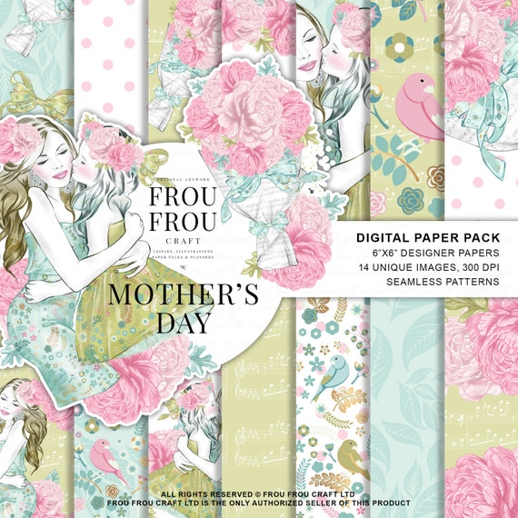 Mothers Day Paper Pack Baby Girl Paper Pack Spring Phone Wallpaper Mom Paper Pack Watercolor Floral Designer Pad Pastel Paper Pack