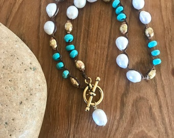 Pearl and Turquoise Necklace; Prayer Beads Necklace; Coastal Inspired; Pearl Pendant
