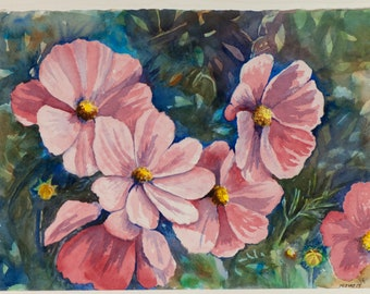 Flowers Rose of Sharon Nature Original  Watercolor Painting: Nursery Bedroom Kitchen Bathroom Decor Art