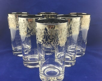 0fd2a15477f Mid Century Set of 6 Dorothy Thorpe highball glasses with Sterling Silver  overlay