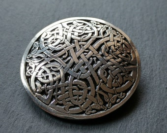 Celtic Brooch, Celtic Jewelry, celtic Knot, large brooch, Inspired by The Book of Kells, Made in pewter, Designed and handmade in Scotland