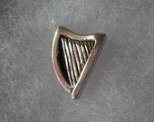 Harp lapel pin, tie pin, brooch, pin badge Irish lapel pins men Made in pewter. Designed and handmade in Scotland by SJH Designs.