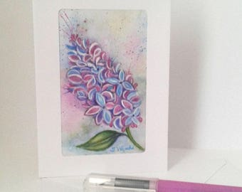Lilac Floral Original Watercolour A6 Art Card // Floral // Original Flower Painting // Gifts for her // Birthday // Engagement // Wedding