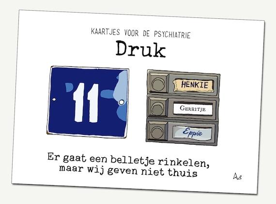 Greeting card: Busy ('Druk' in Dutch)