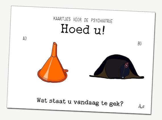 Greeting card: Beware! ('Hoed u' in Dutch)