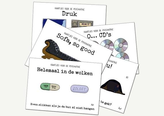 Kaartjes voor de psychiatrie ('een beetje gek') - set van 5 kaarten