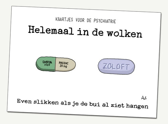 Greeting card: Completely in the clouds ('Helemaal in de wolken'...