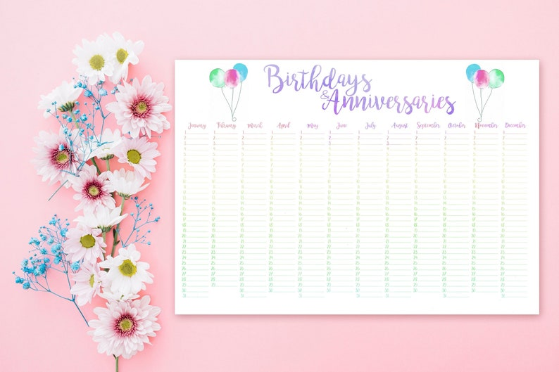 photo about Perpetual Calendar Printable referred to as Birthday Calendar - Printable Calendar Perpetual Calendar - Day Keeper - Wall Planner Marriage ceremony Visitor E-book - Everlasting Calendar