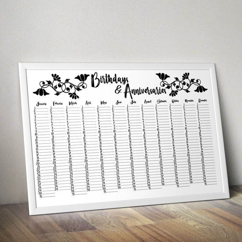 graphic relating to Printable Perpetual Calendar identify Printable Perpetual Calendar - Day Keeper - Printable Wall Planner - Spouse and children Birthday Calendar- Marriage ceremony Visitor E-book - Everlasting Calendar