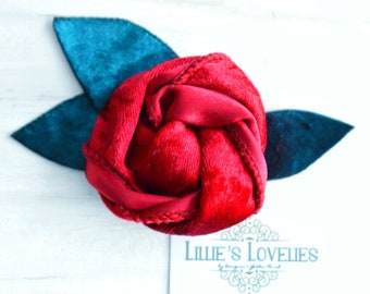 Princess Belle and The Enchanted Red Rose Feltie Hair Clip Embroidered Beauty and The Beast Inspired on Ribbon Lined Alligator Clip
