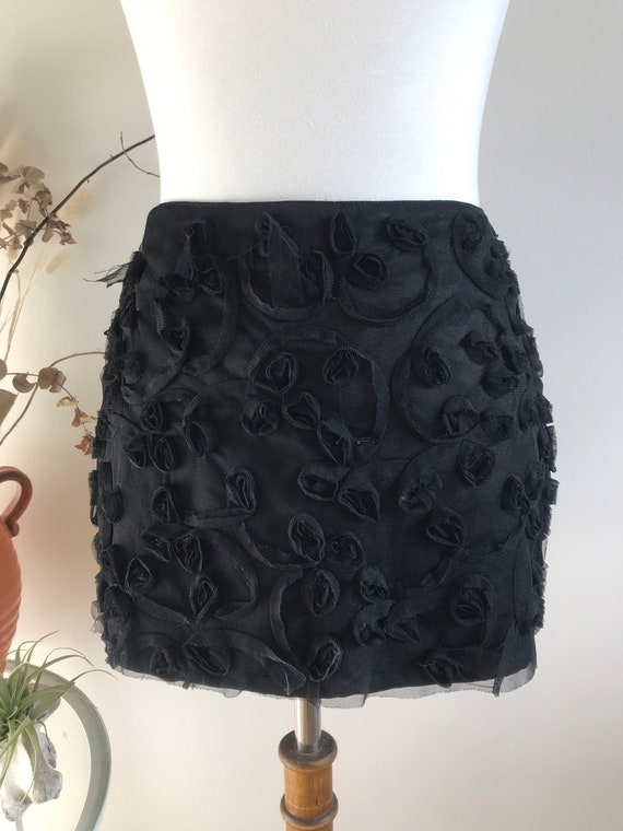 vintage 90s miss sixty lace tulle black micro mini