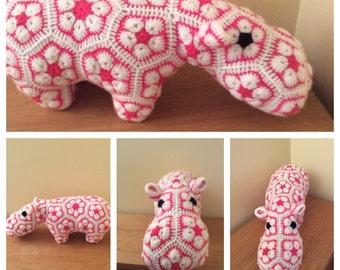 Crochet hippo  Amigurumi Ready to ship African flower crochet Hattie Hippo