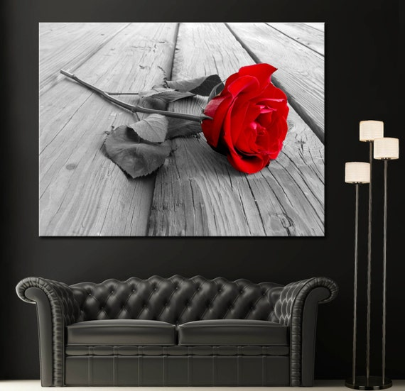 Red Rose Modern Home Fine Black White Wall Art Canvas Giclee | Etsy