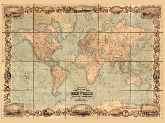 World Map Antique Vintage Old World Map Wall Art Canvas Den Etsy