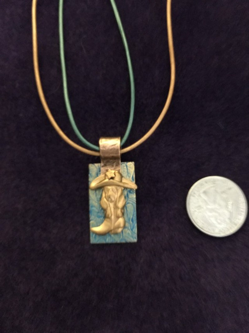 Basset in boot turquoise copper and brass pendant
