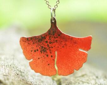 Ginkgo Leaf Pendant, Enamel Pendant, Ginkgo Pendant, Natural Statement Pendant, Ginkgo Jewelry, Ginkgo Necklace, Statement Necklace for Wife