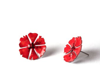 Poppy Earrings, Enameled stainless steel, Red Earrings, Flower Earrings, Bright Earrings, Colorful Earrings, Bright Earrings, Flower Jewelry