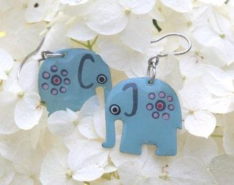 Elephant earrings stainless steel, Handpainted earrings, womens jewelry, elephant jewelry, turquoise earrings, animal jewelry, boho earrings