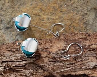 Turquoise Earrings, Stainless Steel Flower Bud Earrings, Elegant Abstract Jewelry, Wereable Art
