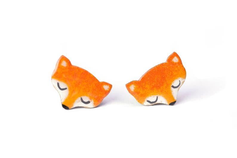 e84edad9c11cf Hand-painted Little Fox Stud Earrings, Enamel Earrings Stainless Steel,  Woodland Earrings, Gift Ideas for Her, Animal Earrings, Fox Earrings
