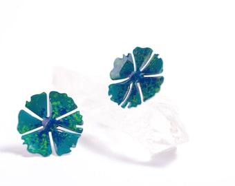 Flower Earrings, Enamel Jewelry, Blue Earrings,  Bright Earrings, Colorful Earrings, Blue Earrings, Flower Jewelry, Spring Earrings