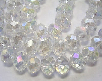 2a1b03b37 12mm X 8mm Crystal Rondelles 8mm Faceted Clear Glass AB Beads Clear Prism Crystal  Rondelles Sparkly Crystals 35 Beads Crystal Jewelry