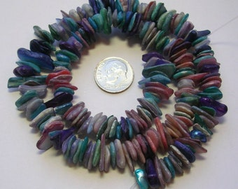 Dark Teal Blue Oblong Sea Shell Mother of pearl Beads 8x4mm for Jewellery Making
