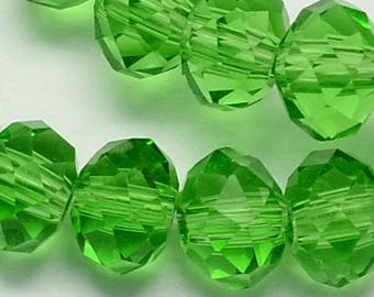 8x10mm Green Crystal Rondelles Faceted Spring Green Glass Beads Green Crystal Rondelles Sparkly Green Crystals 70