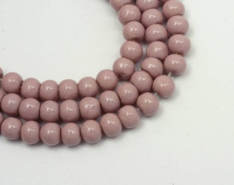 6mm Mauve Pink Beads Glass Rounds 130 Beads 30 inch Strand 1.3mm Hole