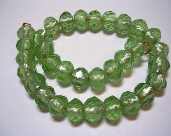8x10mm Green Crystal Rondelles Faceted Spring Green Silver Foiled Glass Beads Sparkly Green Crystals 32 Beads