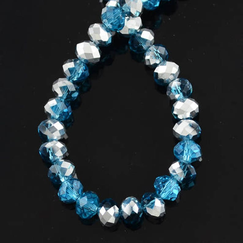 72 x 8mm Turquoise Glass Faceted Beads Rondelle Crystal