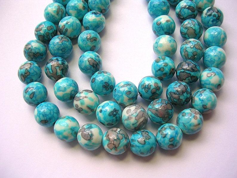 20 perles jade rondes violet bleu vert  création bijou 10 mm