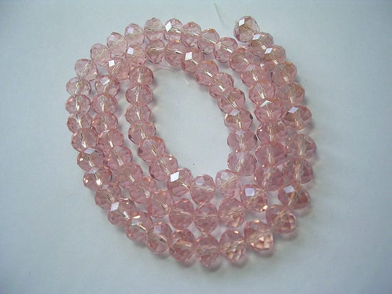 Czech Crystal Opaque Glass Faceted Rondelle Beads 6 x 8mm Pale Pink 70 Pcs