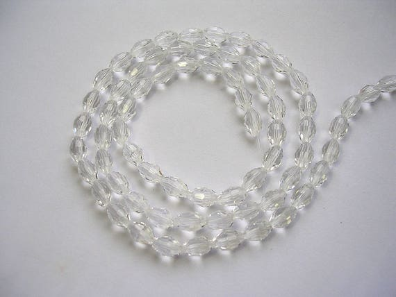 3 X 16 Inch Strands 70 x 6mm Ab Faceted white crystal beads