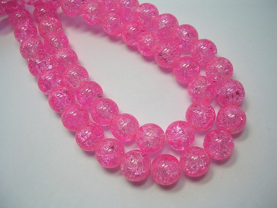 Pink Pale Crackle Glass Round Beads 1 Strand 8mm 100 Pieces