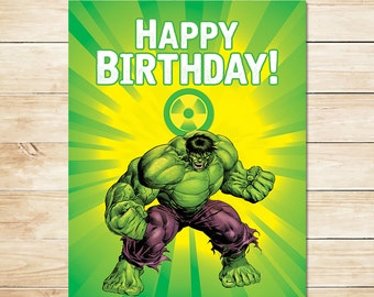 Printable Hulk Radiation Birthday Sign  // Hulk Happy Birthday Sign / Hulk Birthday Party / Superhero Party / Incredible Hulk Favors