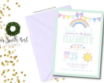 rainbow birthday invitation rainbow invitation rainbow birthday party kids birthday invite childrens invitation colorful invitation