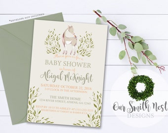 Rustic Baby Shower Invitation DIY PRINTABLE Customizable Digital Prints Rustic Deer Gender Neutral