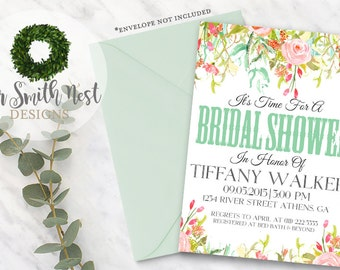 Garden Bridal Shower Invitation DIY PRINTABLE Customizable Digital Print