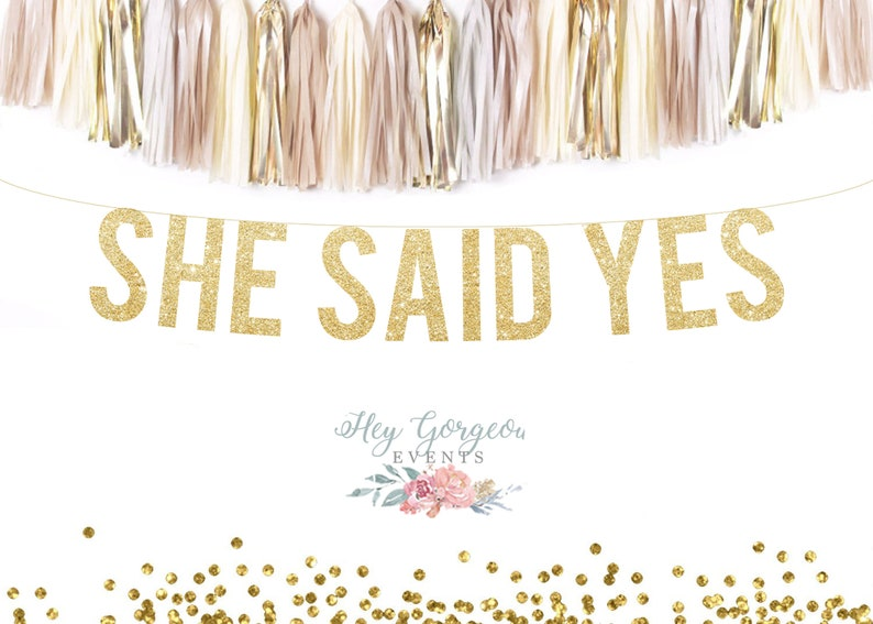 Garlands & Decorative Banners She Said Yes Gold Glitter Party Banner Handmade Products