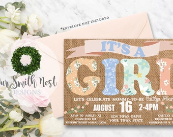 Rustic Baby Shower Invitation DIY PRINTABLE Customizable Digital Print