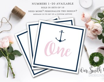 Nautical Table Numbers, Bridal Shower Table Numbers, Wedding Table Numbers