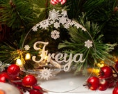 Personalised Christmas Tree Decoration, Clear Acrylic. Engraved Name Xmas Bauble with Snowflakes. Bespoke Laser Cut Hanging Decor Gift.
