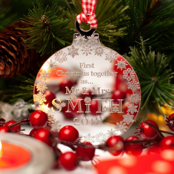 Couples First Christmas Together 1st Xmas Tree Decoration Ornament Bauble Mr Mrs
