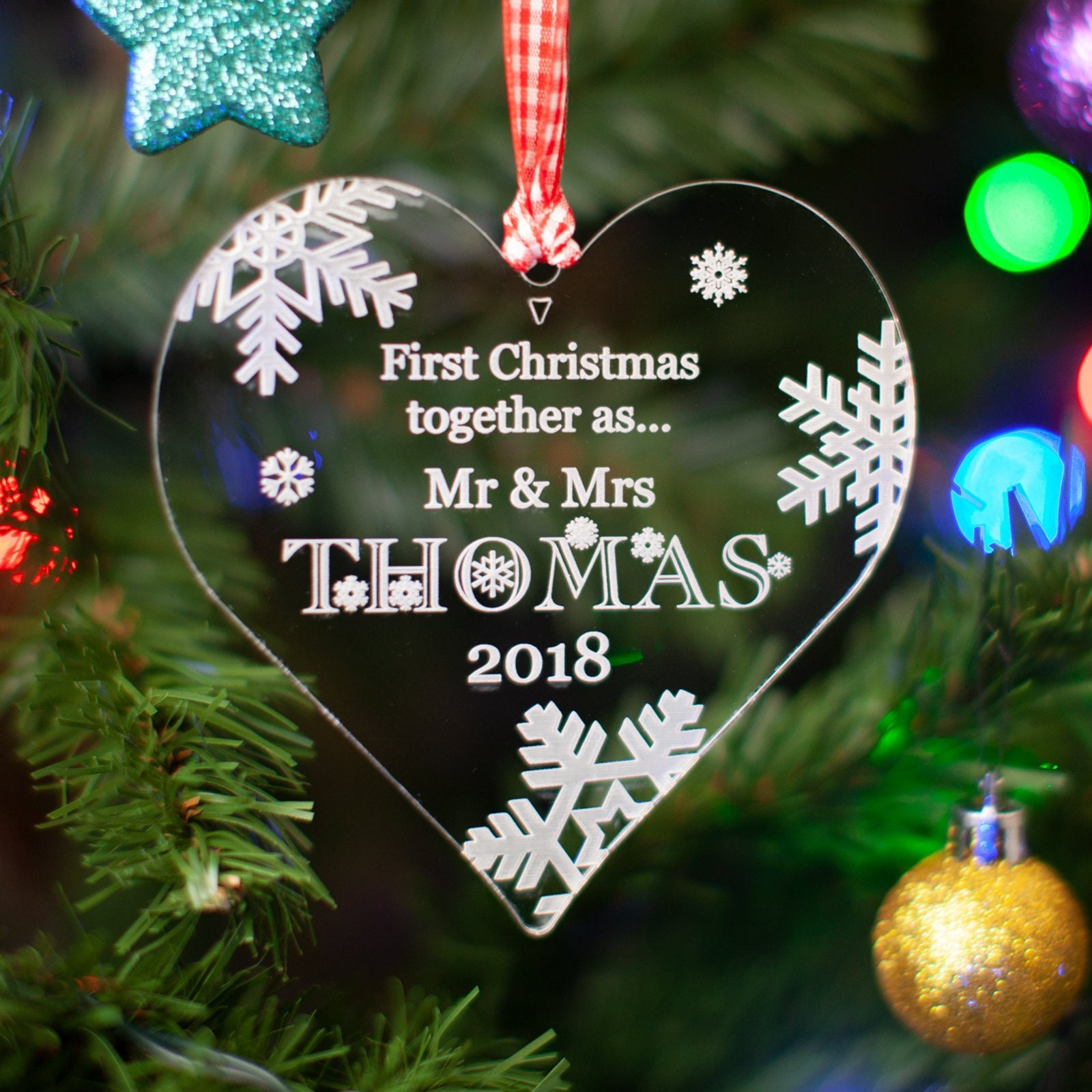 Personalised First Christmas Together /'Mr /& Mrs/' Bauble Keepsake Xmas Tree Gift