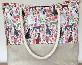 Italian Greyhound dog print beach bag